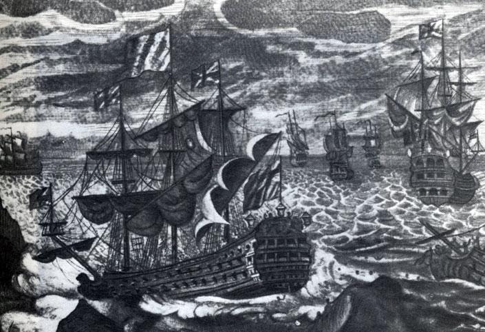 Кораблекрушение эскадры Клодисли Шовелла в 1707 году. Гравюра неизвестного художника Национальный морской музей