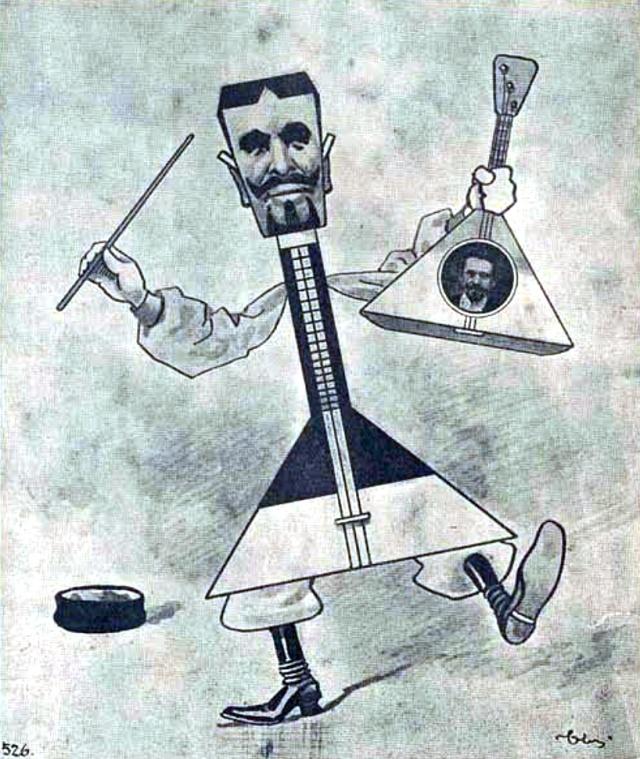 Карикатура на В.В. Андреева в журнале «Стрекоза», 1903 год