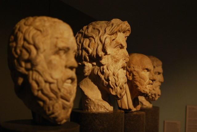 Sokrates, Antisthenes, Chrysippos, Epikouros. Фото: Matt Neale / Wikimedia Commons