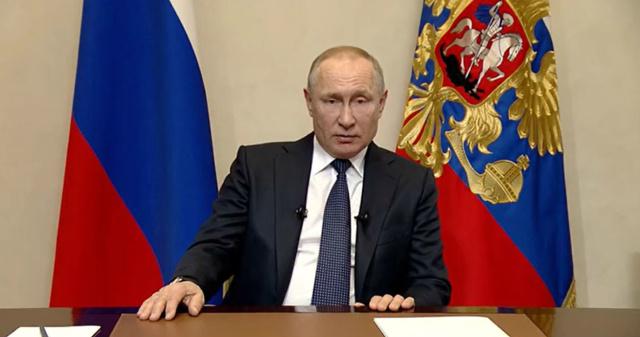 Владимир Путин во время обращения к гражданам. Фото: kremlin.ru