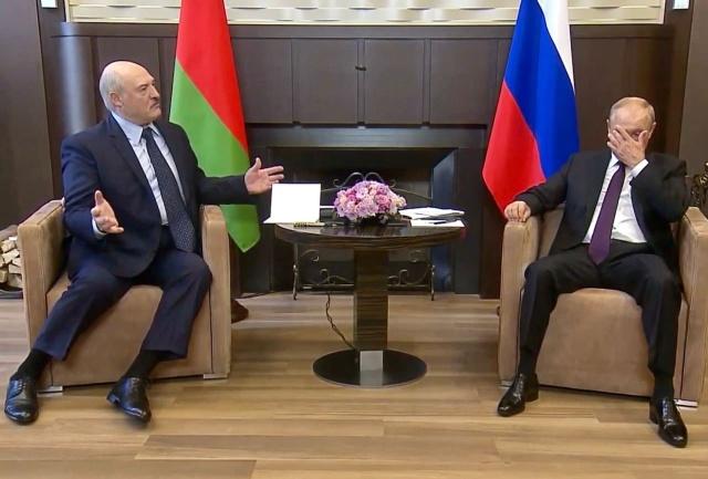 Скриншот RT встречи Александра Лукашенко и Владимира Путина.