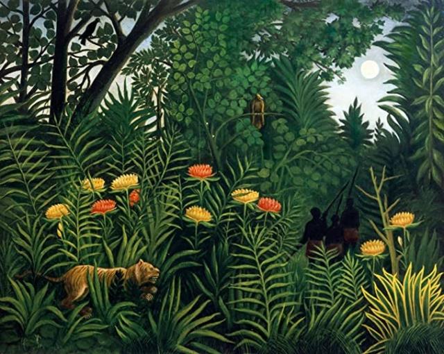 Анри Руссо. Экзотический пейзаж с тигром и охотниками