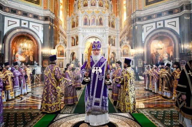 Патриарх Кирилл во время Божественной литургии, 29 марта 2020 года. Фото: Сергей Власов / patriarchia.ru