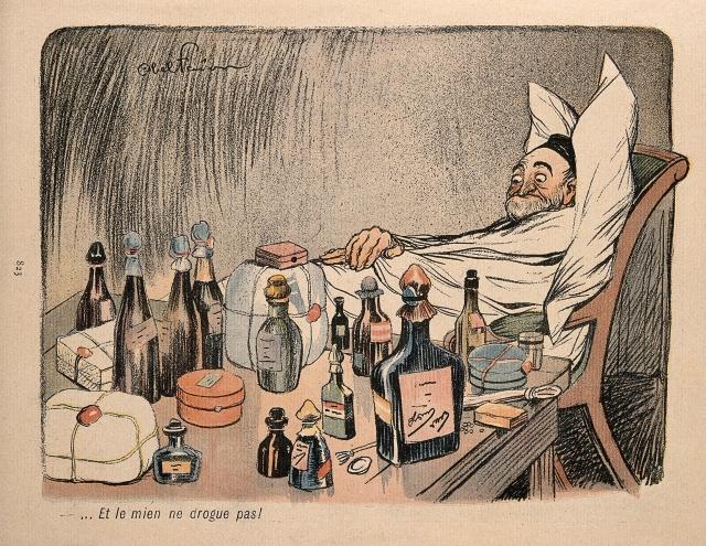 Эти лекарства не помогают! Карикатура Абеля Февра, 1902